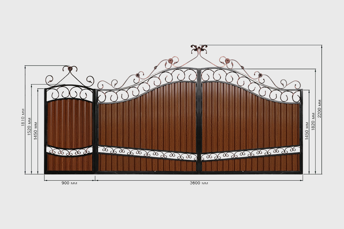 Ворота с профнастилом №2 Кардинал