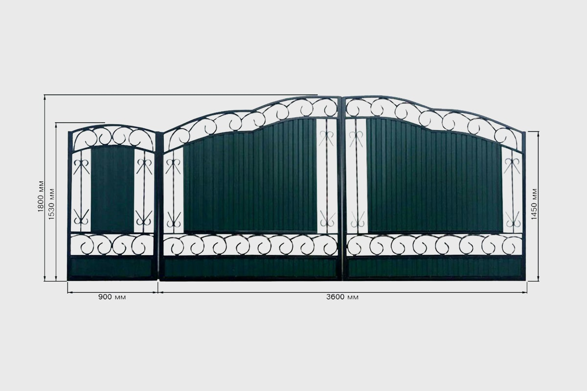 Кованные ворота с профнастилом №3 Кардинал