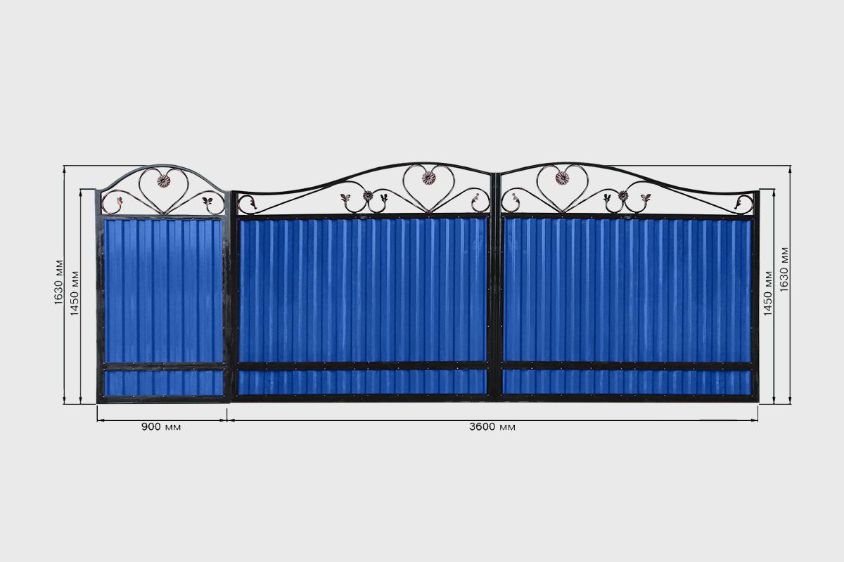 Ворота с профнастилом стандарт Кардинал