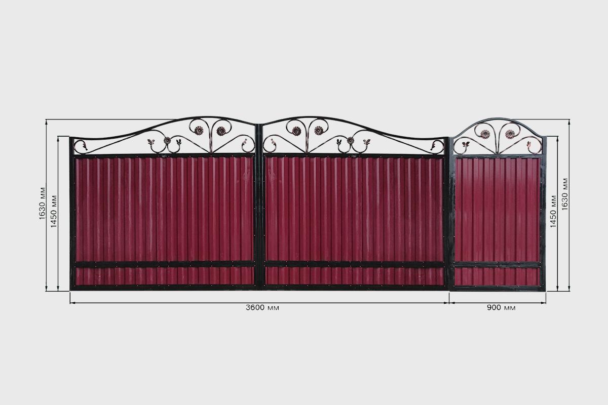 Ворота с профнастилом стандарт 2 Кардинал