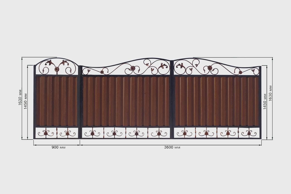 Кованные ворота с профнастилом стандарт 3 Кардинал
