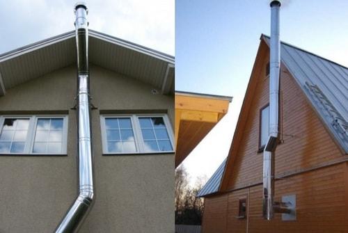 2 дымохода из нержавейки снаружи здания
