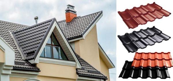Крыша дома, покрытая металлочерепицей и отдельные листы материала