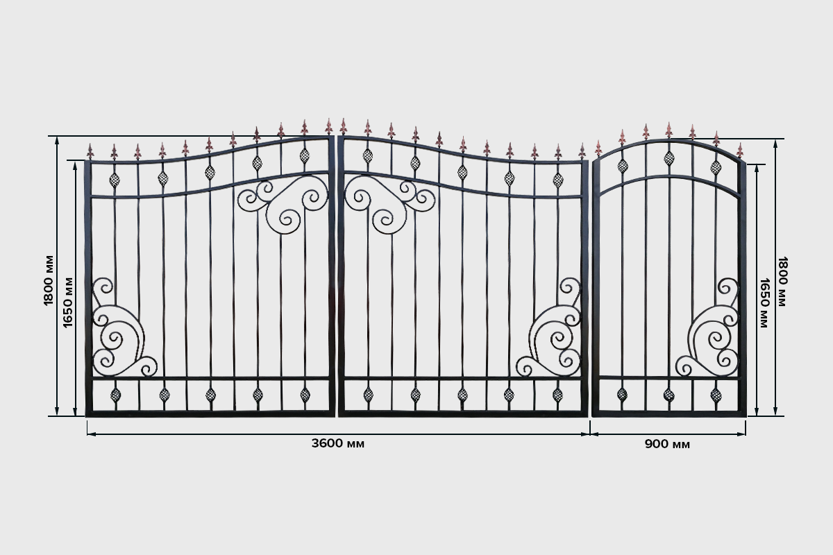Ворота №6 кованные Кардинал