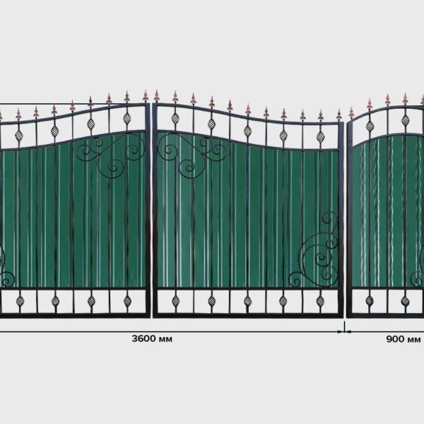Ворота с профнастилом №6 Кардинал