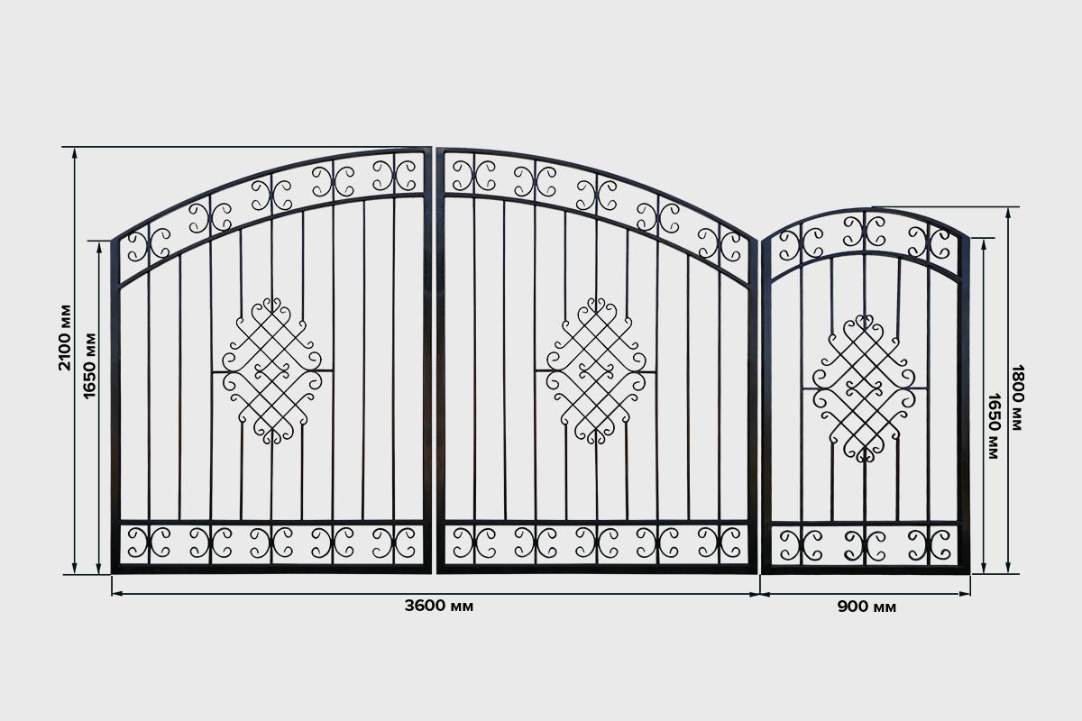Ворота №7 кованные Кардинал