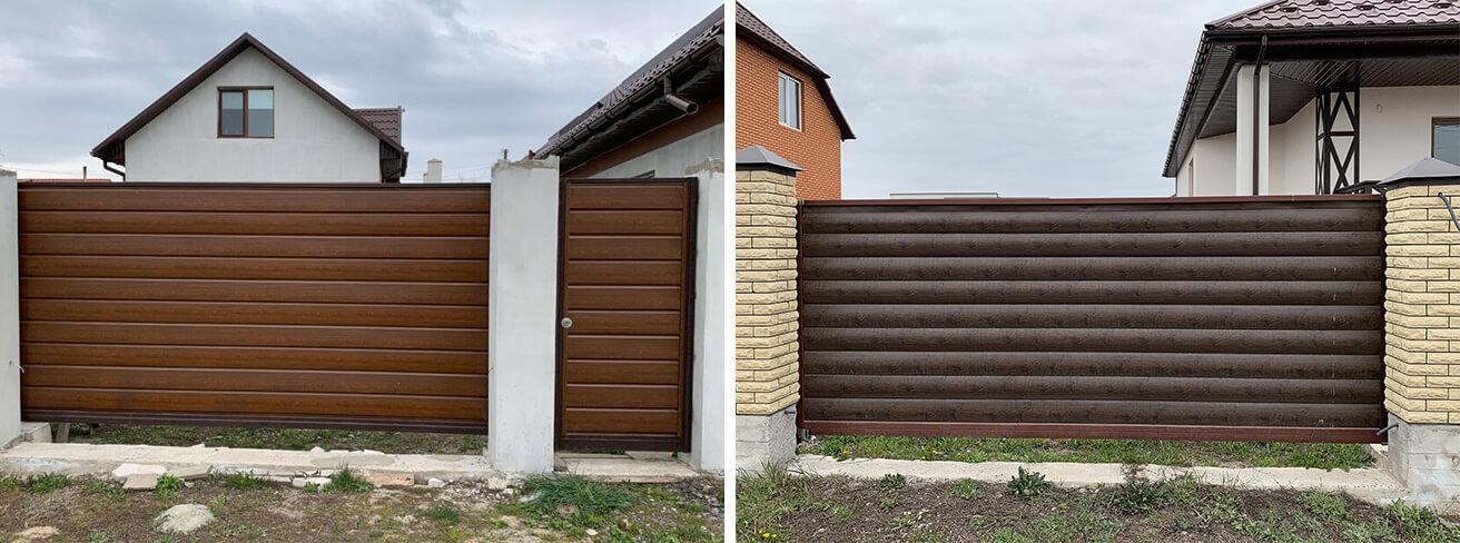 откатные ворота с блок-хаусом